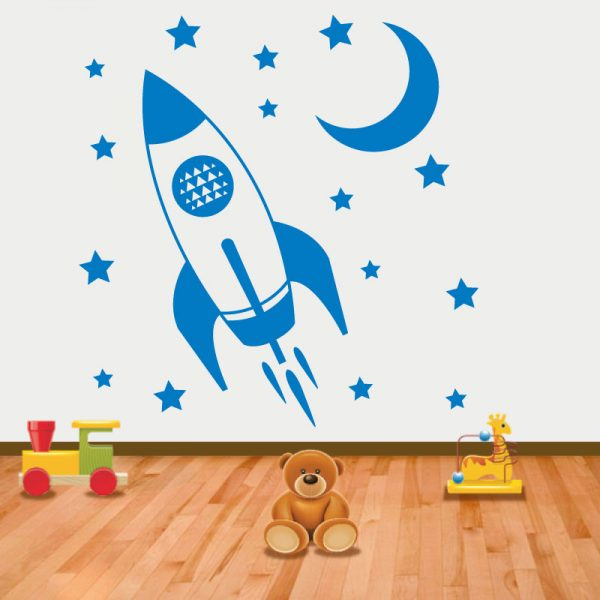 Foguetão com estrelas em vinil autocolante decorativo para decoração Infantil