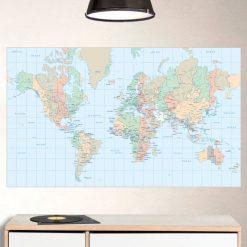Mapa mundo retangular, autocolante de parede decorativo.