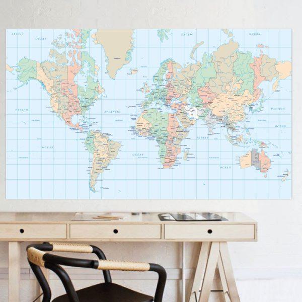 Mapa mundo com cidades, autocolante de parede decorativo