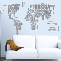 Mapa do mundo com nomes dos países em vinil autocolante decorativo de parede