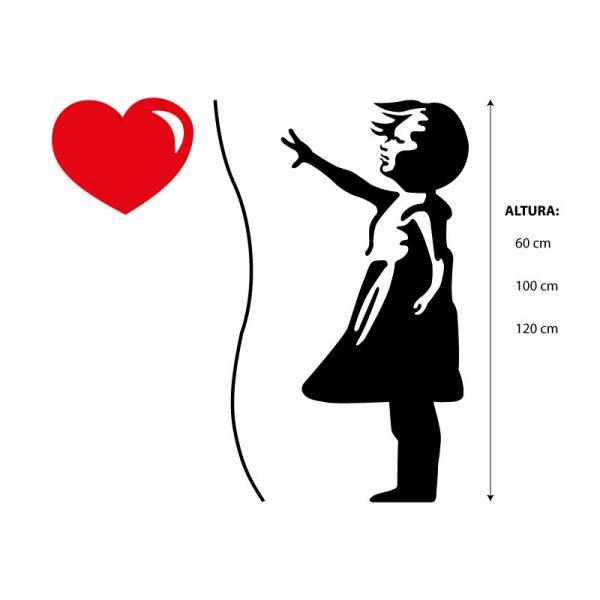 Menina com balão em forma de coração Banksy em vinil autocolante decorativo
