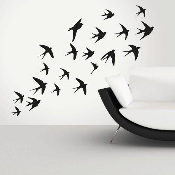 Pássaros a voar andorinhas, vinil autocolante de parede decorativo.