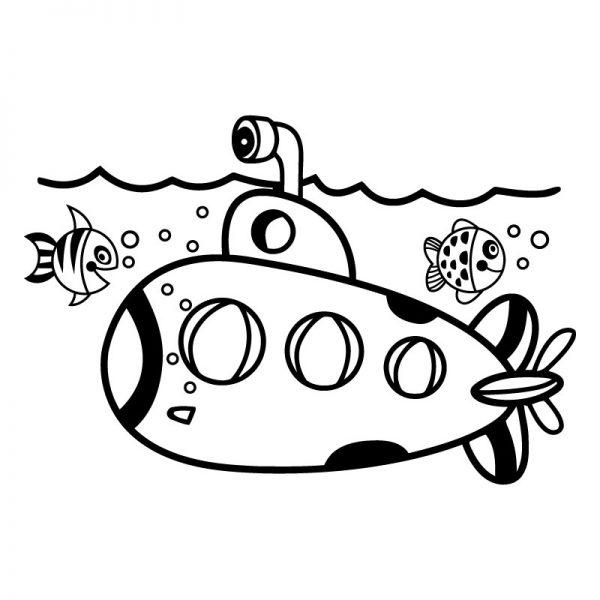 Submarino autocolante decorativo infantil de parede.