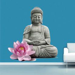 Buda estatua Zen com flor rosa, autocolante de parede decorativo