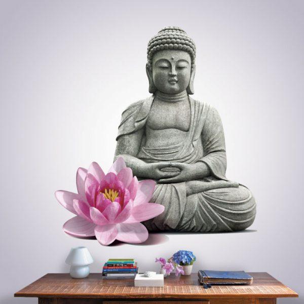 Buda estatua Zen com flor rosa, autocolante de parede decorativo.