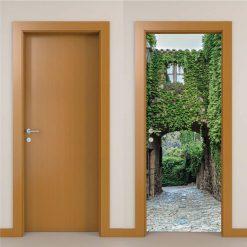 Arcada com vegetação Porta, em vinil autocolante decorativo para portas e paredes