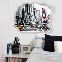 Buraco cidade metrópole, vinil autocolante de parede que simulam o efeito de um buraco na parede.