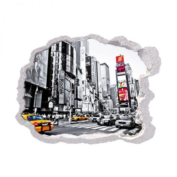 Buraco cidade metrópole, vinil autocolante de parede que simulam o efeito de um buraco na parede