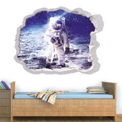Buraco na parede astronauta na lua, vinil autocolante de parede que simulam o efeito de um buraco na parede.