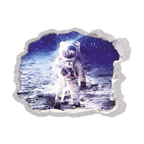 Buraco na parede astronauta na lua, vinil autocolante de parede que simulam o efeito de um buraco na parede