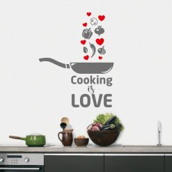 Cooking is love, autocolante decorativo para cozinhas