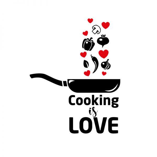 Cooking is love, autocolante decorativo para cozinhas.