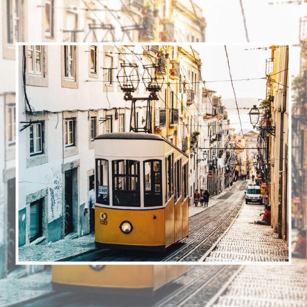 Eléctrico cidade Lisboa mural de parede em vinil autocolante decorativo.