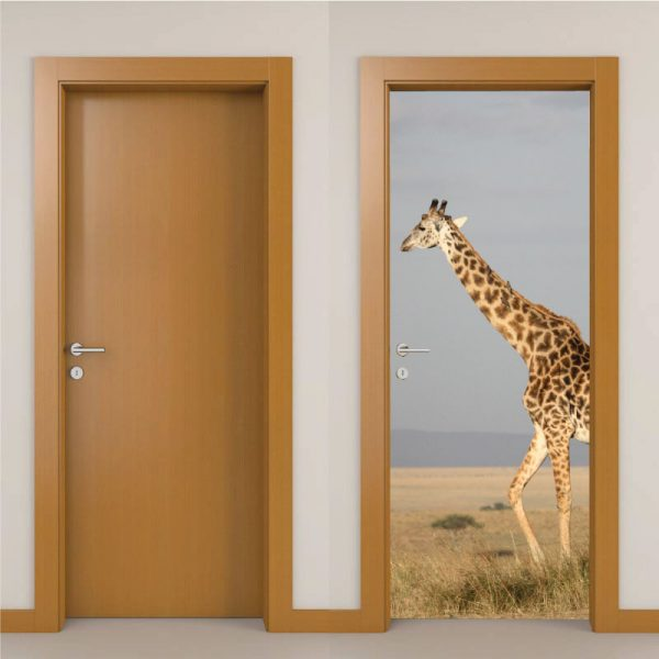 Girafa na savana Porta, em vinil autocolante decorativo para portas e paredes