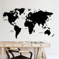 Mapa mundo com nomes continentes,autocolante decorativo de parede