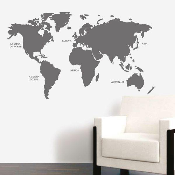 Mapa mundo com nomes dos continentes, autocolante decorativo de parede.