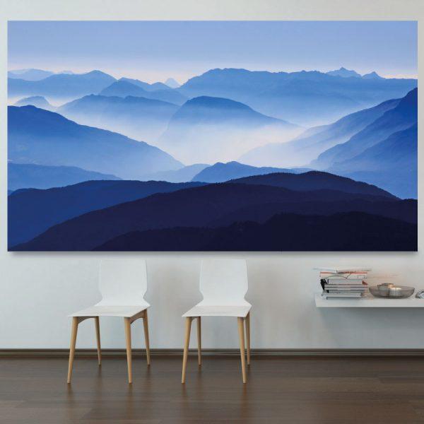 Montanhas azuis com névoa mural de parede em vinil autocolante decorativo