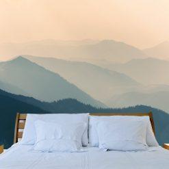 Nascer do sol nas montanhas mural de parede em vinil autocolante decorativo