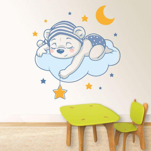 Ursinho a dormir,autocolante infantil de parede.