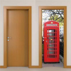 Cabine telefónica Londres Porta, em vinil autocolante decorativo para portas e paredes