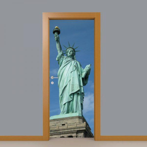 Estatua da liberdade Porta, em vinil autocolante decorativo para portas e paredes