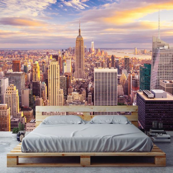 New York amanhecer mural de parede em vinil autocolante decorativo.