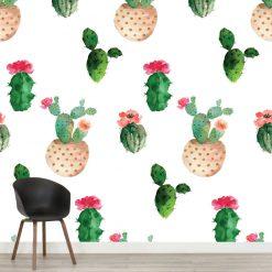Mural de parede Cactos aquarela em vinil autocolante decorativo. Aplique esta imagem em qualquer superfície lisa e sem textura. Não precisa aplicar colas.