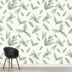 Mural de parede floral verde azeitona em vinil autocolante decorativo