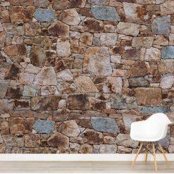 Mural de parede pedra rústica castanha em vinil autocolante decorativo