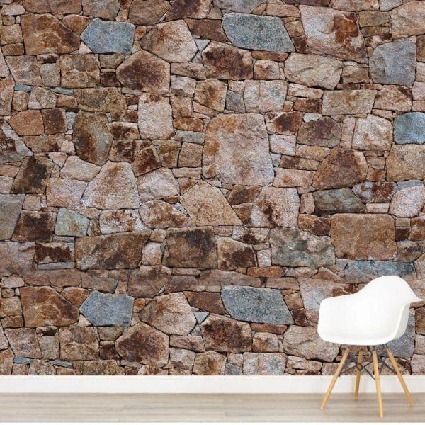 Mural de parede pedra rústica castanha em vinil autocolante decorativo. Aplique esta imagem em qualquer superfície lisa e sem textura.