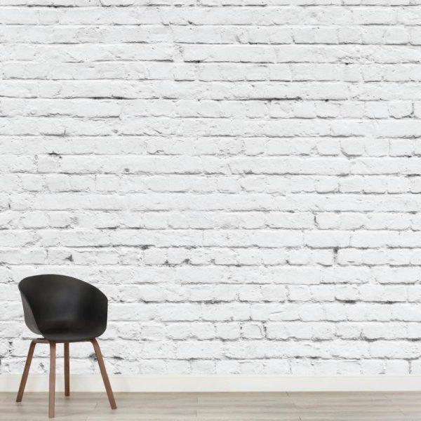 Mural de parede Tijolo branco em vinil autocolante decorativo. Aplique esta imagem em qualquer superfície lisa e sem textura.