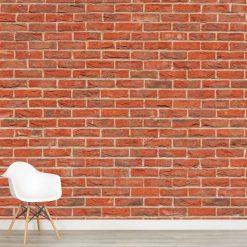 Mural de parede Tijolo vermelho em vinil autocolante decorativo. Aplique esta imagem em qualquer superfície lisa e sem textura.