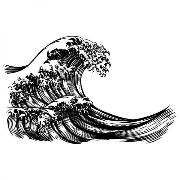 Mural de parede Onda japonesa em vinil autocolante decorativo. Aplique esta imagem em qualquer superfície lisa e sem textura.