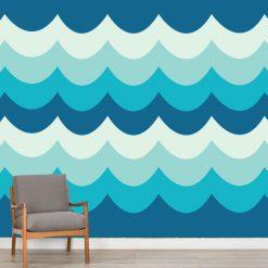 Onda retro mural de parede em vinil autocolante decorativo. Aplique esta imagem em qualquer superfície lisa e sem textura