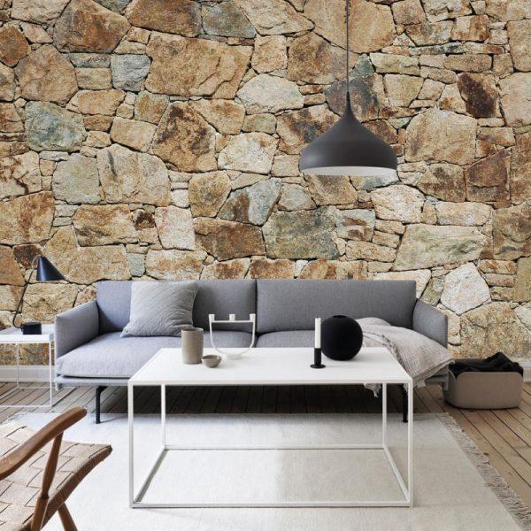 Mural de parede pedra rústica medieval em vinil autocolante decorativo
