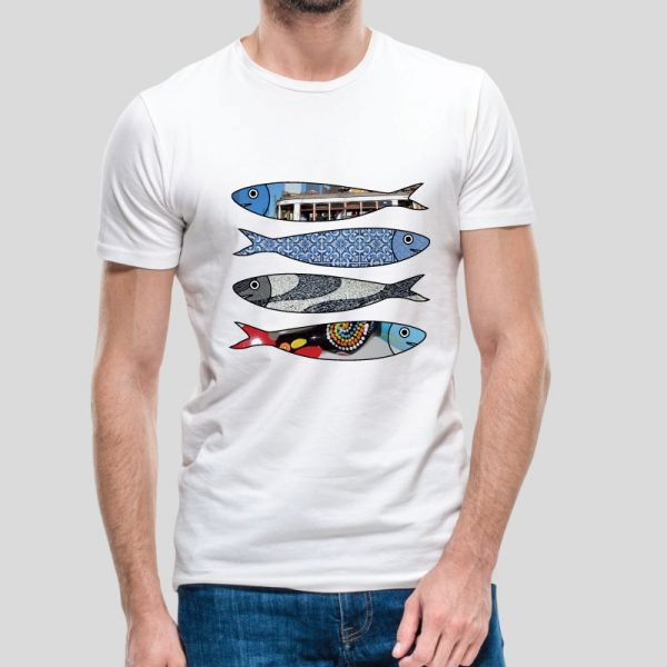 T-shirt Sardinhas. T-Shirts unissexo 100% Algodão, moderna e básica de manga curta com visual contemporâneo.