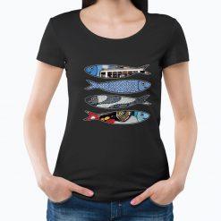 T-shirt Sardinhas. T-Shirts para Mulher visual contemporâneo.