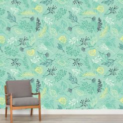 Mural de parede Floral abstrato fundo verde em vinil autocolante decorativo. Aplique esta imagem em qualquer superfície lisa e sem textura. Além disso, ao contrário do papel de parede tradicional, não precisa aplicar colas.