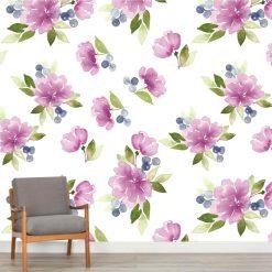 Mural de parede Floral violeta suave em vinil autocolante decorativo