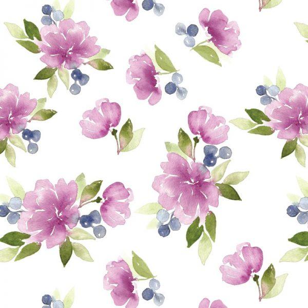 Mural de parede Floral violeta suave em vinil autocolante decorativo. Aplique esta imagem em qualquer superfície lisa e sem textura.