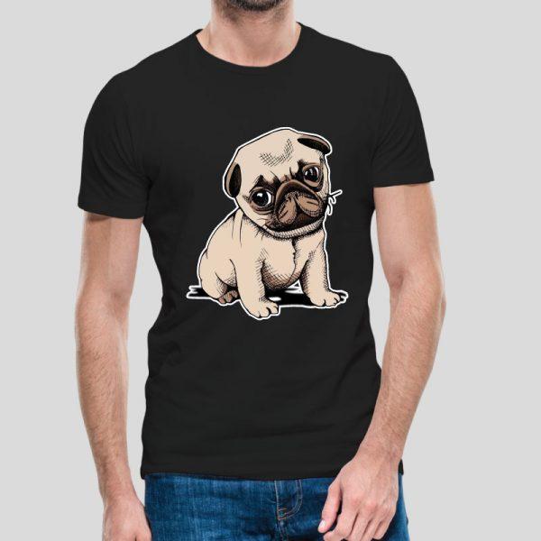 T-shirt Pug.T-Shirts para Homem 100% Algodão, moderna e básica de manga curta com visual contemporâneo.