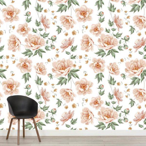Mural de parede Rosas vintage em vinil autocolante decorativo. Aplique esta imagem em qualquer superfície lisa e sem textura. Além disso, ao contrário do papel de parede tradicional, não precisa aplicar colas.