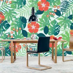 Mural de parede Tropical intenso em vinil autocolante decorativo. Aplique esta imagem em qualquer superfície lisa e sem textura. Não precisa aplicar colas.