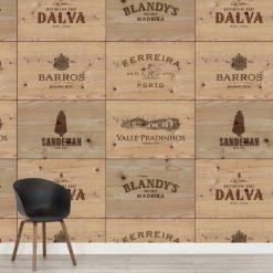 Mural de parede Caixas de vinho de madeira em vinil autocolante decorativo