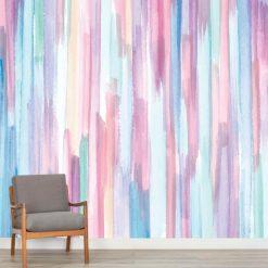 Mural de parede Pinceladas elegantes verticais em vinil autocolante decorativo. Aplique esta imagem em qualquer superfície lisa e sem textura. Além disso, ao contrário do papel de parede tradicional, não precisa aplicar colas.