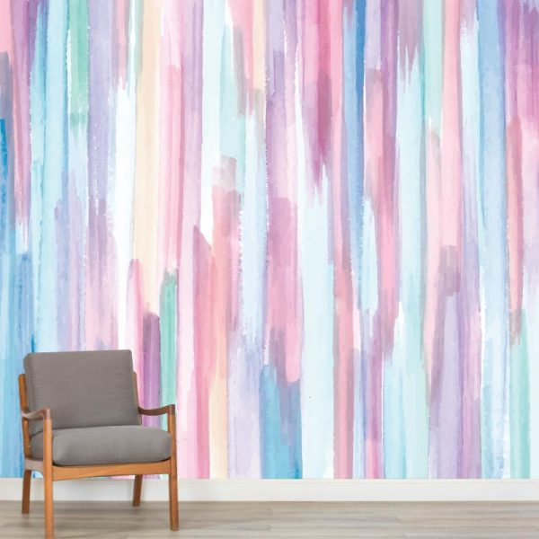 Mural de parede Pinceladas elegantes verticais em vinil autocolante decorativo