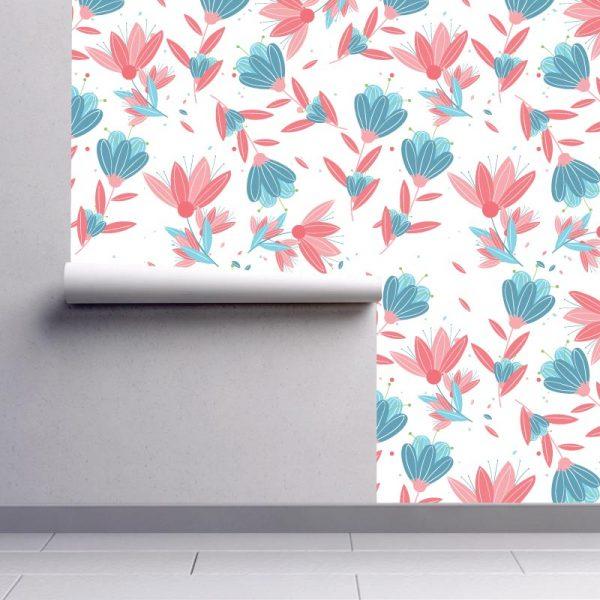 Papel de parede floral clássico vermelho e azul em vinil autocolante decorativo