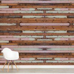 Papel de parede madeira pintada descascada em vinil autocolante decorativo