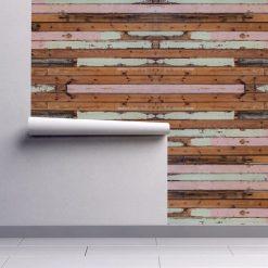 Papel de parede madeira pintada descascada em vinil autocolante decorativo. Aplique esta imagem em qualquer superfície lisa e sem textura. Além disso, ao contrário do papel de parede tradicional, não precisa aplicar colas.