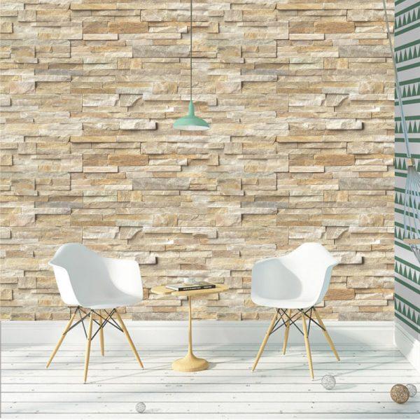 Papel de parede pedaços de mármore em vinil autocolante decorativo. Aplique esta imagem em qualquer superfície lisa e sem textura. Além disso, ao contrário do papel de parede tradicional, não precisa aplicar colas.